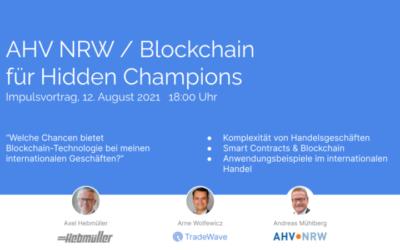 """Axel Hebmüller ist Referent im Impulsvortrag der AHV NRW """"Blockchain für Hidden Champions"""""""